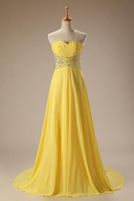 Elegant Long Yellow Blue Red Lemon Graduation Prom Dress 2017 Sweetheart Strapless Crystal Sequins Beaded Chiffon Draped Sweep Train Ruffles Formal Party Gown Bridesmaid Dresses