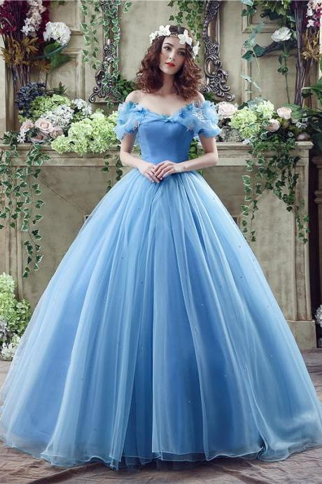 Sky Blue Princess New Movie Deluxe Adult Cinderella Wedding Prom Dresses Blue Cinderella Ball Gown Wedding Dress Bridal Dress Long