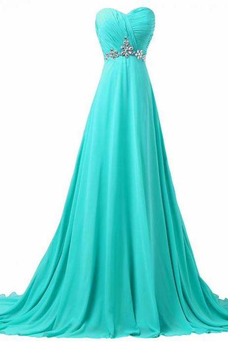 Turquoise Elegant Prom Dress Grace Karin Sexy Sleeveless Beading Lace Up Back Formal Evening Dress Long Chiffon Prom Dress
